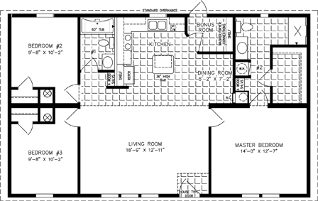 Manufactured home  Floor Plan: The Imperial Limited | Model IMLT-4448B  3 Bedrooms, 2 Baths