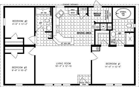Manufactured Home Floor Plan: The Imperial Limited | Model IMLT-4449B  3 Bedrooms, 2 Baths