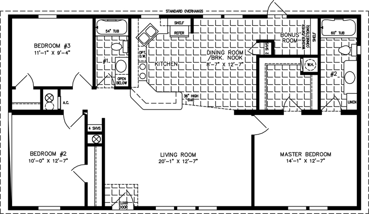 Manufactured Home Floor Plan: The Imperial Limited • Model IMLT-44815B  3 Bedrooms, 2 Baths