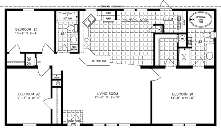 Manufactured home Floor Plan: The Imperial Limited | Model IMLT-44818B  3 Bedrooms, 2 Baths