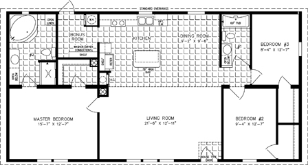 Manufactured home Floor Plan: The Imperial Limited | Model IMLT-45213B  3 Bedrooms, 2 Baths