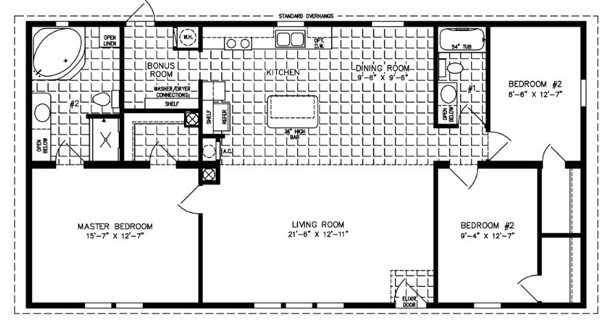 Manufactured Home Floor Plan: The Imperial Limited U2022 Model IMLT 45213B 3  Bedrooms, Exterior Rendering Jacobsen Homes ...