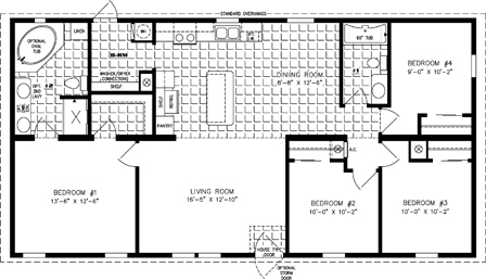 Manufactured home Floor Plan: The Imperial Limited | Model IMLT-45215B  4 Bedrooms, 2 Baths