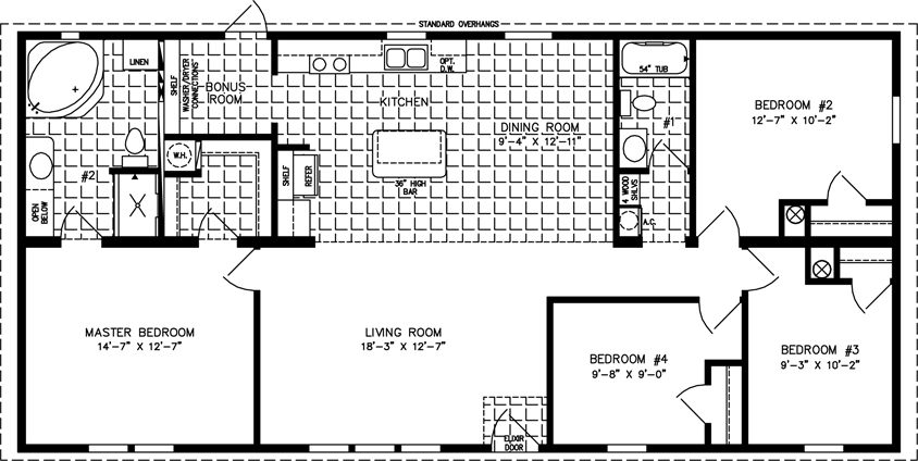 Manufactured home Floor Plan: The Imperial Limited | Model IMLT-45617B  4 Bedrooms, 2 Baths