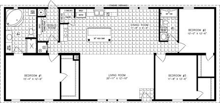 Manufactured Home Floor Plan: The Imperial Limited | Model IMLT-46026B  3 Bedrooms, 2 Baths