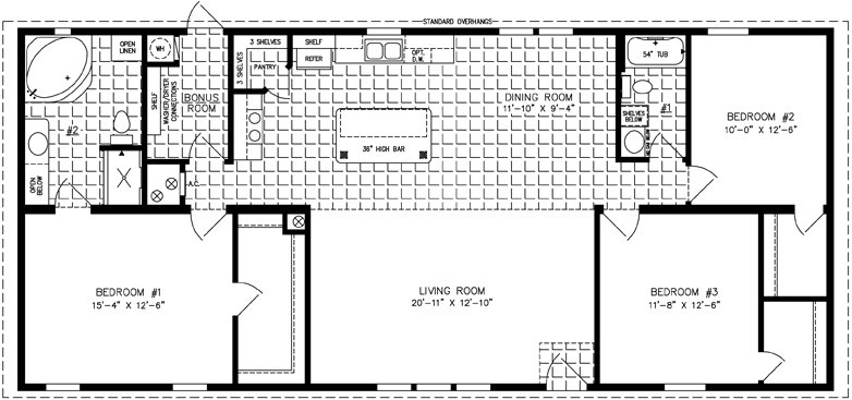 Manufactured Home Floor Plan: The Imperial Limited • Model IMLT-46026B  3 Bedrooms, 2 Baths