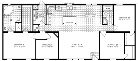 Manufactured Home Floor Plan: The Imperial Limited | Model IMLT-46412B  3 Bedrooms, 2 Baths