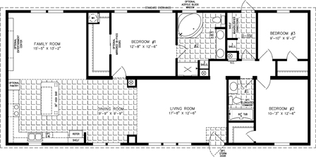 Manufactured Home Floor Plan: The Imperial Limited | Model IMLT-5601B  3 Bedrooms, 2 Baths