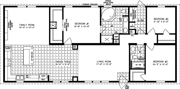 Manufactured Home Floor Plan: The Imperial Limited • Model IMLT-5601B  3 Bedrooms, 2 Baths