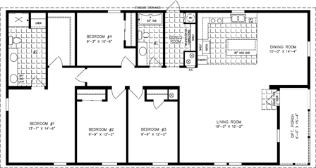 Manufactured Home Floor Plan: The Imperial Limited | Model IMLT-6602W  4 Bedrooms, 2 Baths