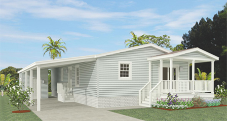 Rendering of a Jacobsen Home with a half front porch and carport