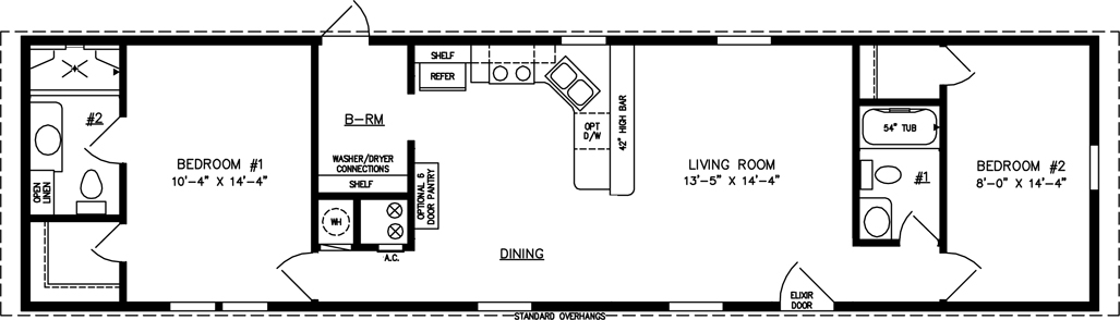 Manufactured Home Floor Plan: The Imperial Limited • Model IMLTSWW-4603  2 Bedrooms, 2 Baths