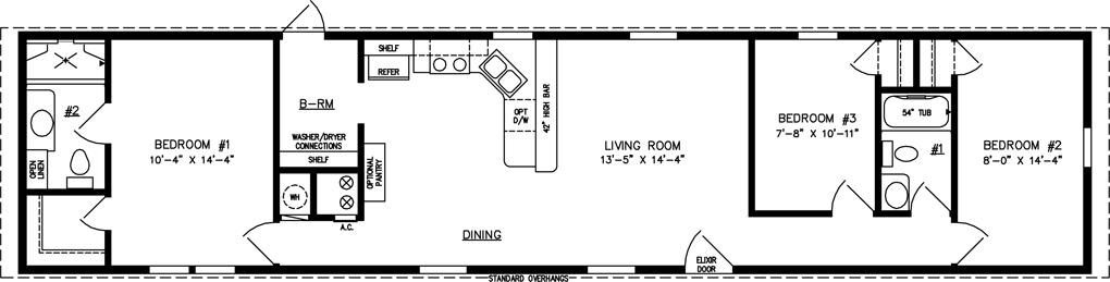 Manufactured Home Floor Plan: The Imperial Limited • Model IMLTSWW-4684  3 Bedrooms, 2 Baths