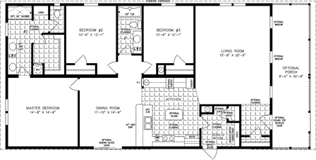 Manufactured home  Floor Plan: The Imperial | Model IMP-1562W  3 Bedrooms, 2 Bath