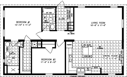 Manufactured home Floor Plan: The Imperial • Model IMP-2421A  2 Bedrooms, 2 Baths