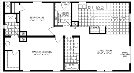 Manufactured home Floor Plan: The Imperial | Model IMP-2443A  2 Bedrooms, 2 Baths