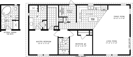 Manufactured home floor plan The Imperial Model IMP-2483A  2 Bedrooms, 2 Baths