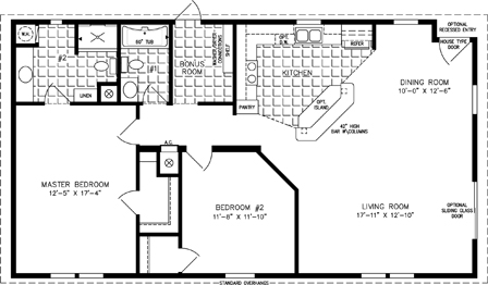 Manufactured home Floor Plan: The Imperial • Model IMP-2484B  2 Bedrooms, 2 Baths