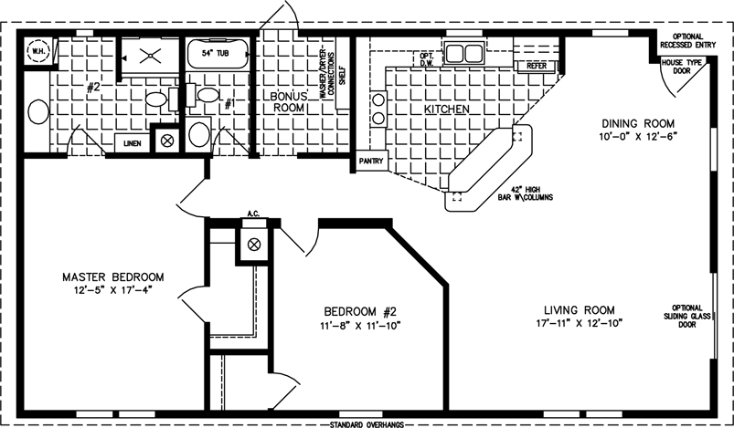 Manufactured home Floor Plan  The Imperial   Model IMP 2484B 2 Bedrooms. Two Bedroom Mobile Homes l 2 Bedroom Floor Plans