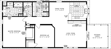 Manufactured home Floor Plan: The Imperial | Model IMP-3486B  2 Bedrooms, 2 Baths