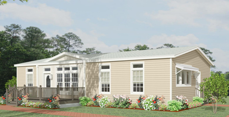 Rendering of a Jacobsen Home with a dormer & awning