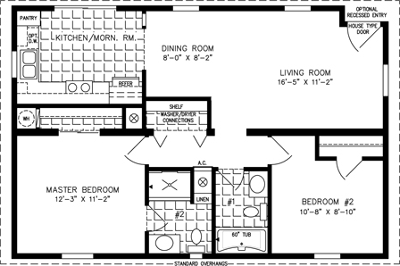 Manufactured Home Floor Plan: The Imperial Model IMP | 4364A  2 Bedrooms, 2 Baths