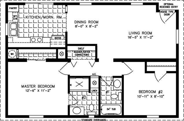 Manufactured Home Floor Plan: The Imperial Model IMP-4364A  2 Bedrooms, 2 Baths