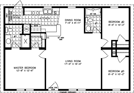 Manufactured Home Floor Plan: The Imperial | Model IMP-4406B  3 Bedrooms, 2 Baths