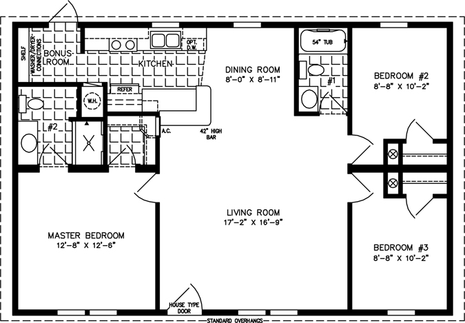 Manufactured Home Floor Plan: The Imperial U2022 Model IMP 4406B 3 Bedrooms, ...