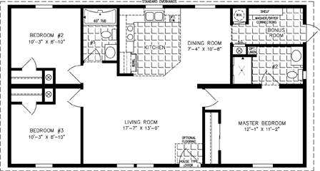 Manufactured Home Floor Plan: The Imperial | Model IMP-4442A  3 Bedrooms, 2 Baths
