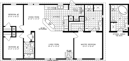 Manufactured Home Floor Plan: The Imperial • Model IMP-44813B  3 Bedrooms, 2 Baths