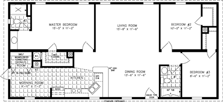 Manufactured Home Floor Plan: The Imperial | Model IMP-45212A  3 Bedrooms, 2 Baths