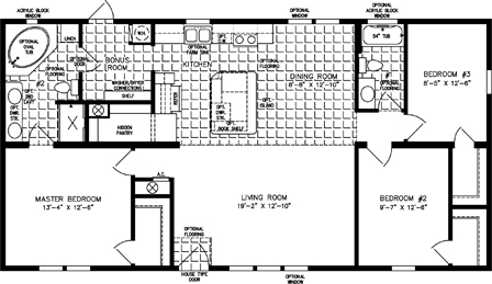 Manufactured Floor Plan: The Imperial • Model IMP-45213B-34385  3 Bedrooms, 2 Baths