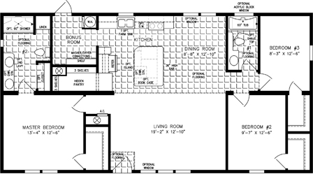 1200 to 1399 Sq Ft Manufactured and Mobile Home Floor Plans ...  Bedroom House Open Concept Plan Square Feet on 1200 square feet 3 bedroom house plans, two bedroom 2 bath house plans, 1200 square feet home,