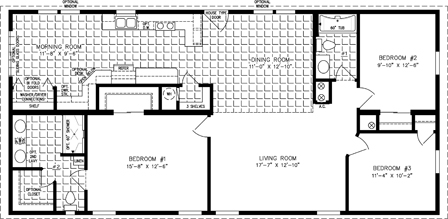 Three bedroom two bath floor plan with galley kitchen and morning room