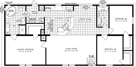 Manufactured home Floor Plan: The Imperial | Model IMP-45616B  3 Bedrooms, 2 Baths