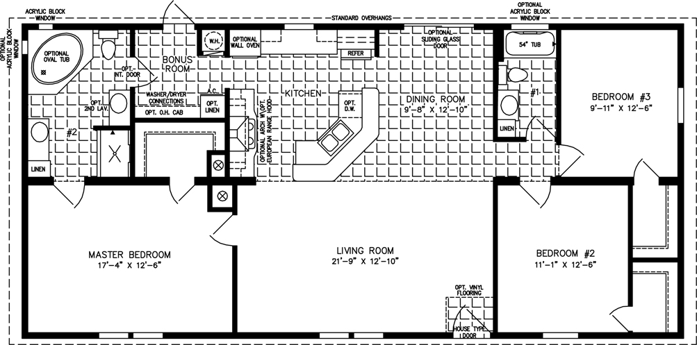 manufactured home floor plan the imperial model imp 45616b 3 bedrooms - Home Floor Plans