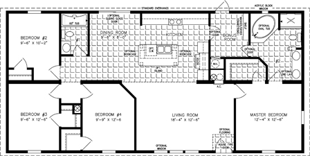 Manufactured Home Floor Plan: The Imperial | Model IMP-45618B  4 Bedrooms, 2 Baths