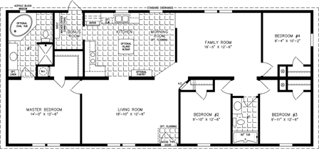 Manufactured Home  Floor Plan: The Imperial | Model IMP-46013B  4 Bedrooms, 2 Baths
