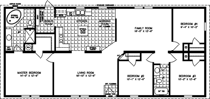 Four Bedroom Two Bath Floor Plan