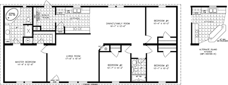 Manufactured Home Floor Plan: The Imperial | Model IMP-46019B  4 Bedrooms, 2 Baths