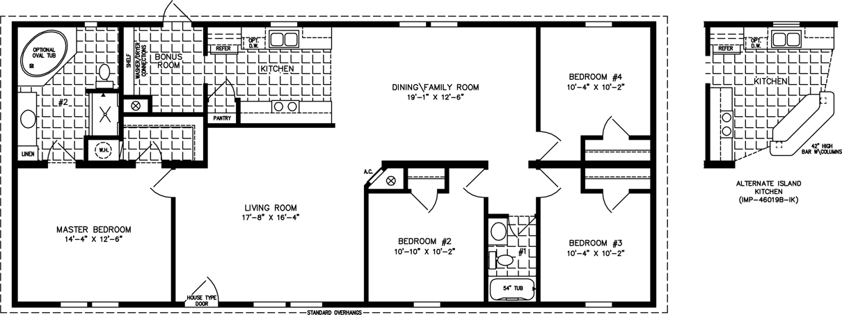 Manufactured Home Floor Plan: The Imperial • Model IMP-46019B  4 Bedrooms, 2 Baths