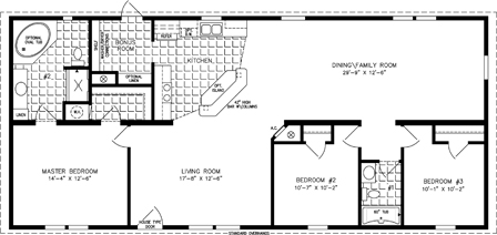 Manufactured Home Floor Plan: The Imperial | Model IMP-46020B  3 Bedrooms, 2 Baths