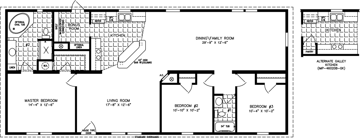 Manufactured Home Floor Plan: The Imperial • Model IMP-46020B  3 Bedrooms, 2 Baths