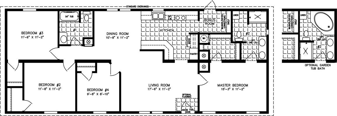 1400 to 1599 sq ft manufactured home floor plans for Modular homes 5 bedroom floor plans