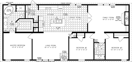 Manufactured Home Floor Plan: The Imperial | Model IMP-46022B  3 Bedrooms, 2 Baths