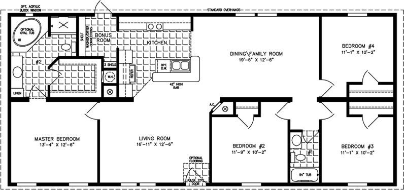 Manufactured Home Floor Plan: The Imperial • Model IMP-46023B  4 Bedrooms, 2 Baths