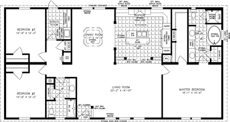 Manufactured Home Floor Plan: The Imperial | Model IMP-46024W  3 Bedrooms, 2 Baths