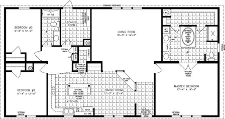 Manufactured Home Floor Plan: The Imperial | Model IMP-46025W  3 Bedrooms, 2 Baths
