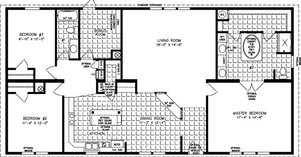 Manufactured Home Floor Plan: The Imperial • Model IMP-46025W  3 Bedrooms, 2 Baths